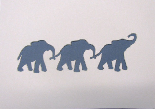 A4 3x Baby Elephants shaped mount